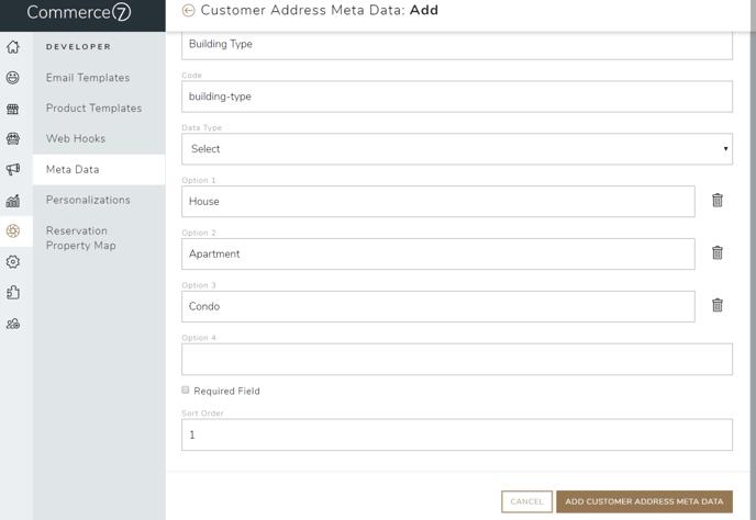 Customer Address Meta Data 1