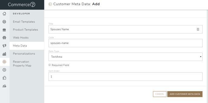 Customer meta data 2
